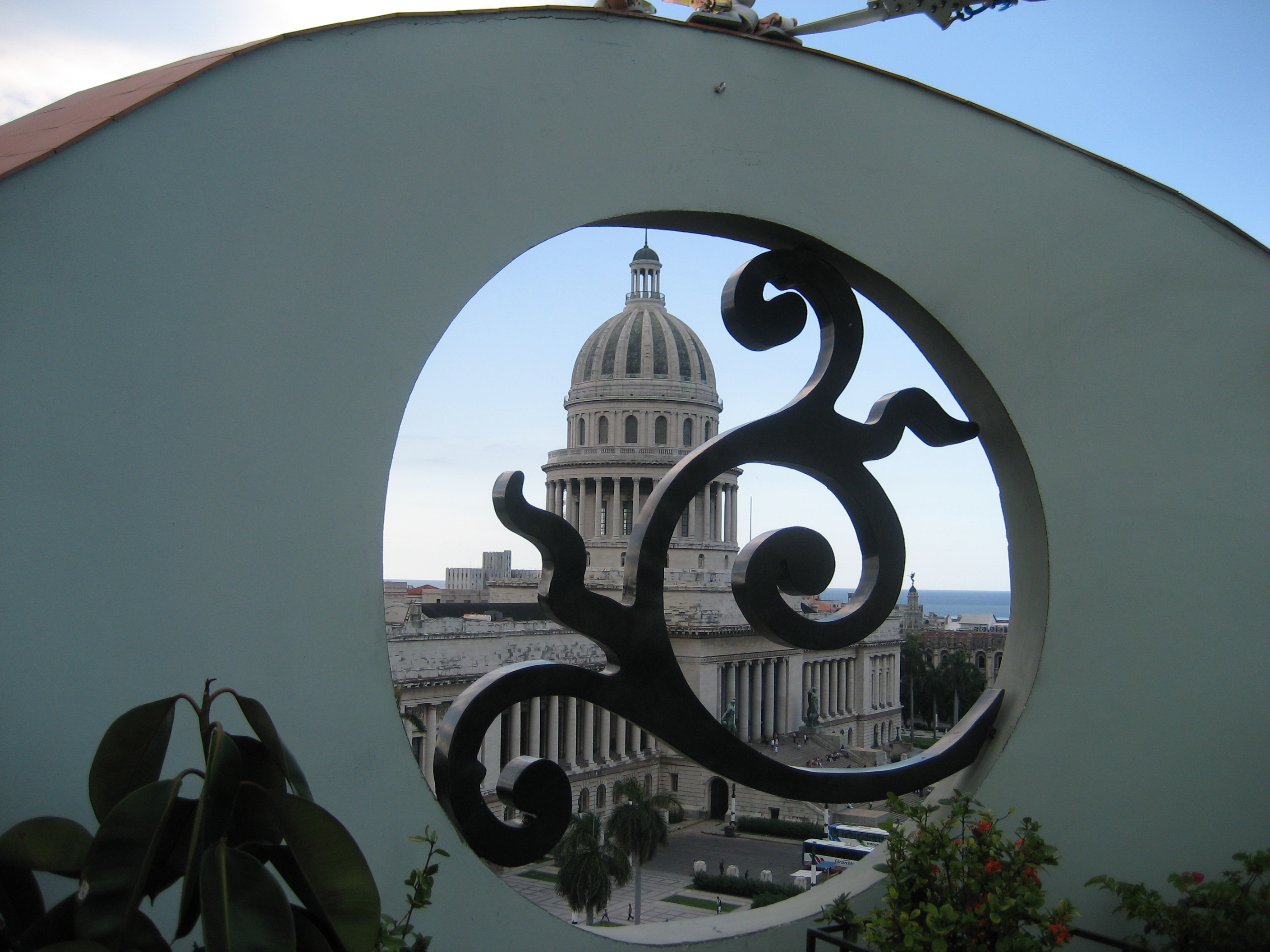 View of the Capitol building from the Saraoga hotel rooftop