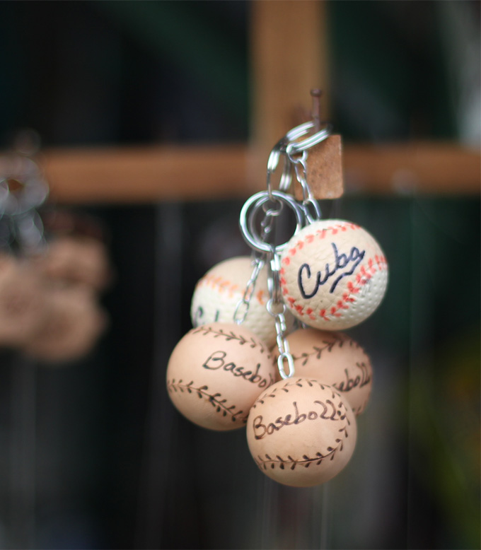 A baseball key ring souvenir from Cuba