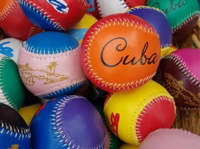 Colorful baseballs in Cuba