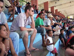 Watching a baseball game in Cuba