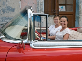 Red convertible classic car in Havana, Cuba