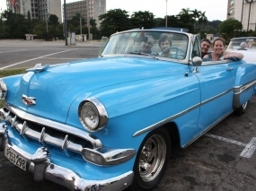 A blue classic car in Havana