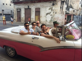touring in an old american car in Havana