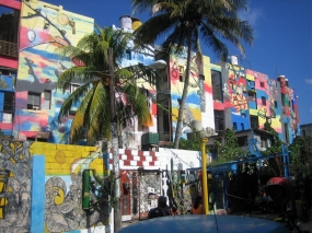 Brightly painted houses in Havana