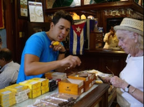 Selecting cigars with the tour guide in the cigar store